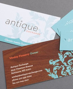 Logo design, business card design for Antique Exchange - Baltimore