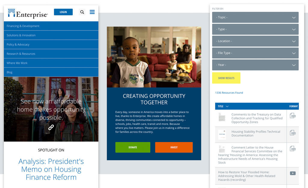 Enterprise Community Partners Drupal website design and development