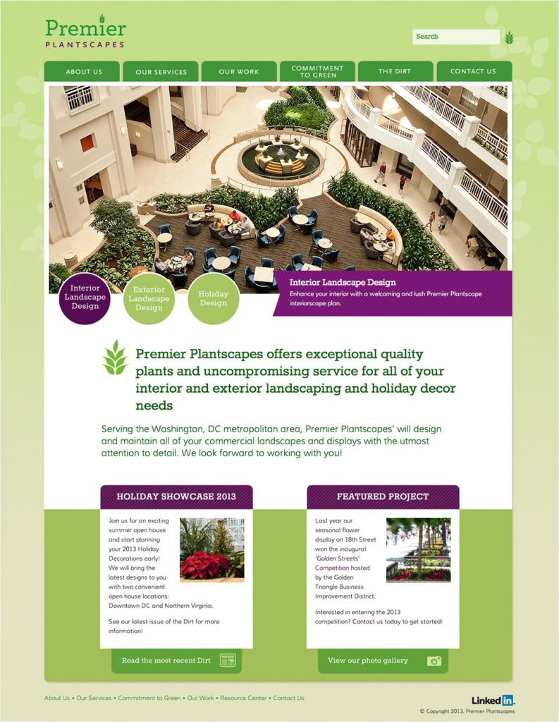 Award-winning website design for Premier Plantscapes