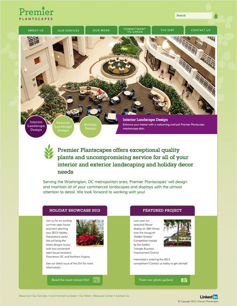 Award-winning website design for Premier Plantscapes