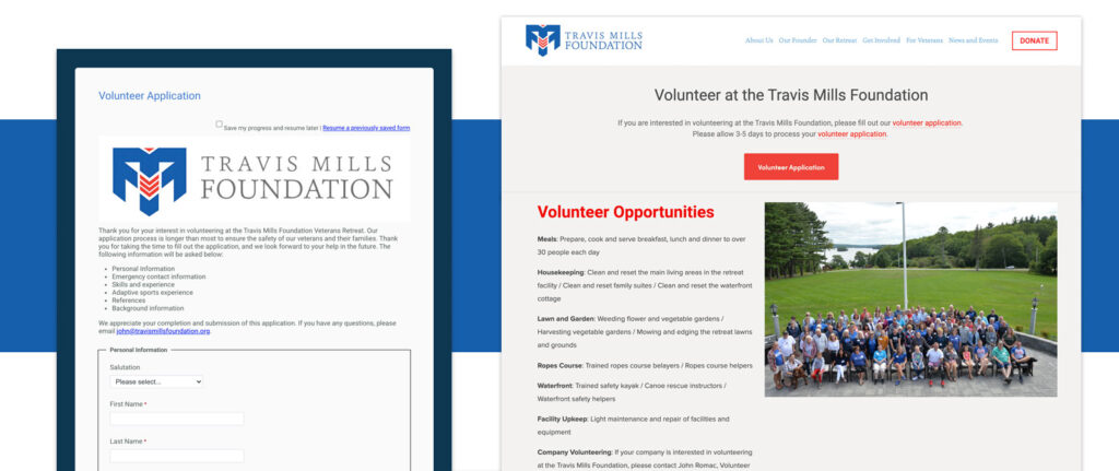 Travis Mills Foundation uses Volunteers for Salesforce
