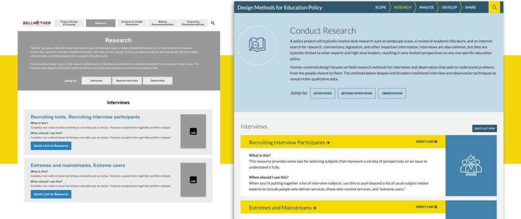 Screenshots of redesigned Bellwether website.