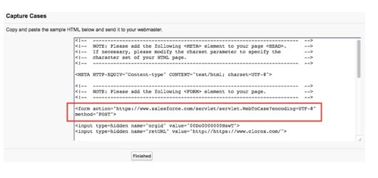 Web-to-Case Form HTML Code Generation
