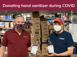 Donating hand sanitizer to Miriam's Kitchen during COVID-19