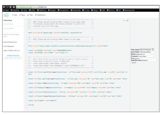 JSFiddle test editor
